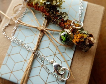 Terrarium Bead Necklace in Plated Silver or Gold