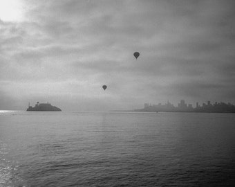 Balloons Over San Francisco Bay - Black and White Fine Art Photography Printed on Aluminum