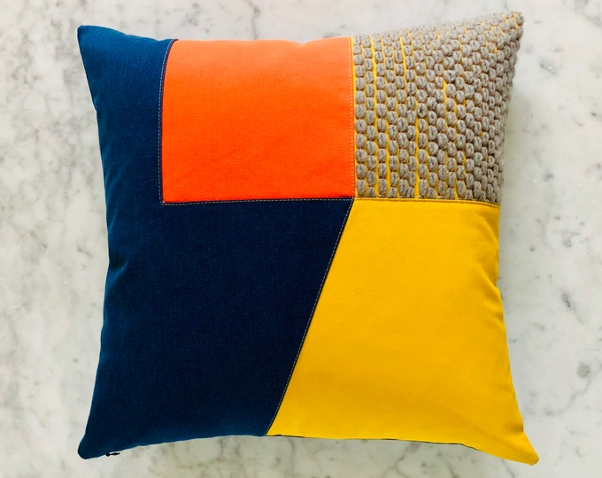 Bright Geometric Cushion with Hand Embroidery. 50cm x 50cm.