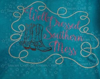 Southern Mess, Shirt, Women, Girls, Boots, Western, Rope, Tee, Glitter