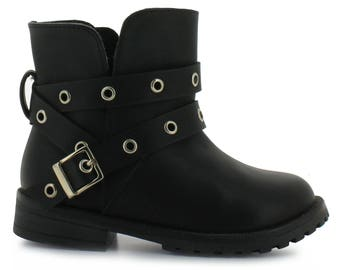 Girl/'s Tropicana black quilted napa dress boot