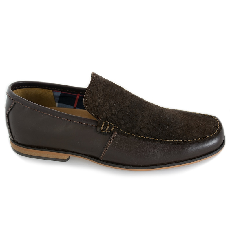 f7c12903f2ce4 Army's loafer/Dark brown/With textured front like reptile/Leather
