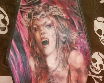 Little Decorated Wooden Black Hinged Coffin Box with Vampire Woman