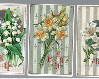 3 EASTER Embossed Antique Postcards 1912 with Flowers Daffodils Lilies and Lilies of Valley