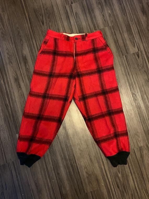 Red & Black plaid wool hunting pants