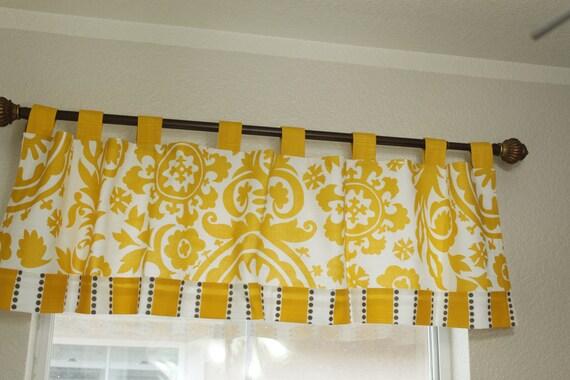Tab top valances, kitchen valances Premier Prints yellow white 50\
