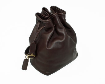 a88d26498373 Vintage Coach Drawstring Bucket Bag Duffle Shoulder Bag Style No. 9165 in  Brown Glove-Tanned Leather