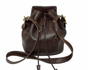0cecc6433d Vintage Coach Lulu s Legacy Drawstring Bucket Bag Style No 9952 in Dark  Brown Glove-Tanned Leather