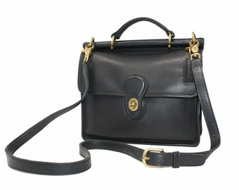 17fc63245f Vintage Coach Willis Station Bag Satchel Cross Body Messenger Top Handle Bag  Style No. 9927 in Black Leather