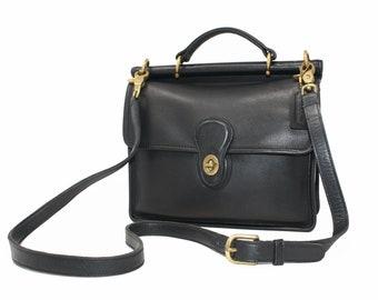 96b852fc9f7c Vintage Coach Willis Station Bag Satchel Cross Body Messenger Top Handle Bag  Style No. 9927 in Black Leather