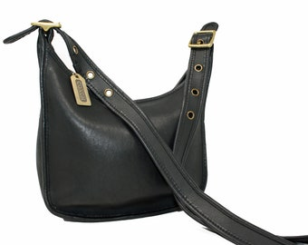 569a722f356b Vintage Coach Janice Cross Body Messenger Mini Bucket Bag Purse in Black  Glove-Tanned Leather Style No. 9950