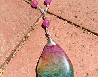 Rainbow Teardrop Pendant Necklace, Rainbow y-necklace, Rainbow lariat,  Beaded chain necklace, wire wrapped necklace, pink necklace, rainbow