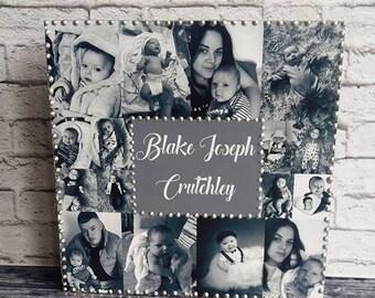 "Personalised Wood Photo Collage 8""x8"" Block Birthday, Anniversary, Wedding Gift Present"
