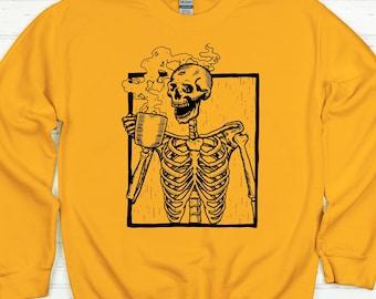 Coffee Sweatshirt Unisex, Coffee Shirt, Halloween Sweatshirt, Fall Sweatshirt, Sweater Weather, Skeleton Shirt, Coffee Lover, Coffee Addict