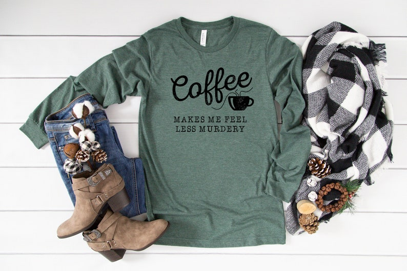 Coffee Shirt Long Sleeve Unisex Funny Coffee Shirt Coffee Forest/Black Print