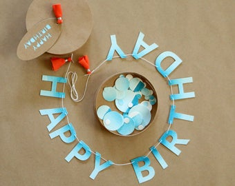 Painted Mini Banner Card 'Happy Birthday' with Confetti and Keepsake Box