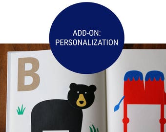 Add-On: Personalize Your DIY Alphabet Animals Activity Game Keepsake Guestbook Kit - Baby's 1st Alphabet - Guest Book - ABC Collection