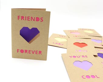 Mini Heart Valentine's Day Card - Choose One - Friendship Collection - Valentine's Day Card for Friends, Coworkers, Kids