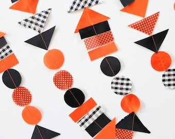 Scrap Fabric Halloween Garland, Orange Black Geometric Modern Garland & Confetti, Triangle and Circle Shapes Garland, Fall Farmhouse Banner