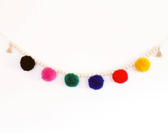 Pom Pom Beaded Wall Hanging - Wooden Bead Nursery Garland - Primary Colors - Pom Pom Garland Banner - Pom Pom Decor - Nursery Decor