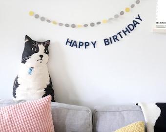 Mini Happy Birthday Garland Set with Confetti - Desk Banner for Coworker - Personalized Banner - Custom Mini Birthday Banner