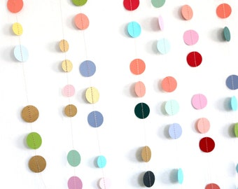 Multicolored Confetti Dot Paper Garland, Modern Party Decor for Birthday, Shower, Wedding, Sewn Circle Garlands, Reusable Banner, Gift Wrap