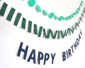 Mini Banner Set - Happy Birthday Garland with Confetti - Green and Navy Blue