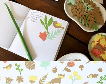 DIY Advice and Wishes Guestbook - Whimsical Woodland Animals and Fall Florals - Unique Guest Book for Baby Shower - Woodland Collection