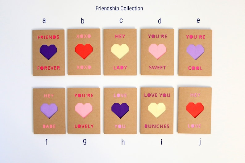 Coworkers Friendship Collection Kids Origami Mini Valentines for Friends Set of 10 Mini Heart Valentine/'s Day Cards with Envelopes