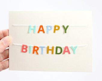 Happy Birthday Day Card - Multicolored Birthday Card - Mini Banner Birthday Card