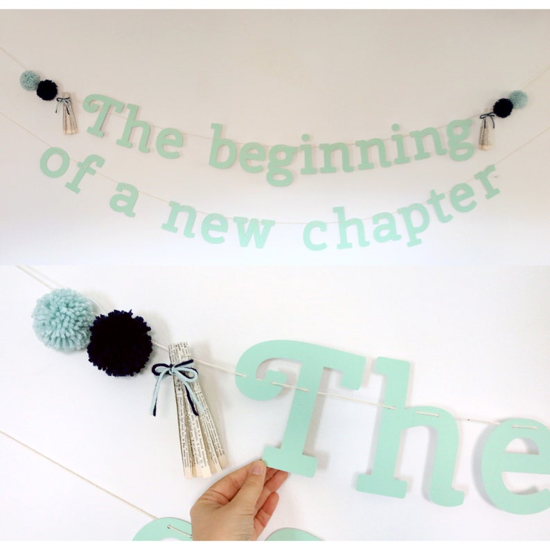/'The beginning of a new chapter/' Banner for Storybook Shower Book Baby Shower Decoration Book Theme Pom Pom Banner Decoration Mint