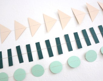 Geometric Paper Garlands, 6 ft. Confetti Circle, Rectangle, Triangle Garlands, Modern Birthday, Shower, Wedding Decor, Coral, Green, Blue