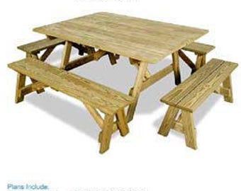 Traditionnel tour de Table de pique-nique avec bancs porte | Etsy
