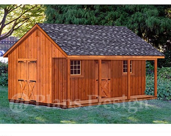20' X 24' Shed with Porch, Guest House, Cottage or Cabin Building Plans, Material List Included #P52024