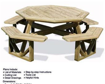 Picnic Table Plans Etsy - Octagon picnic table for sale