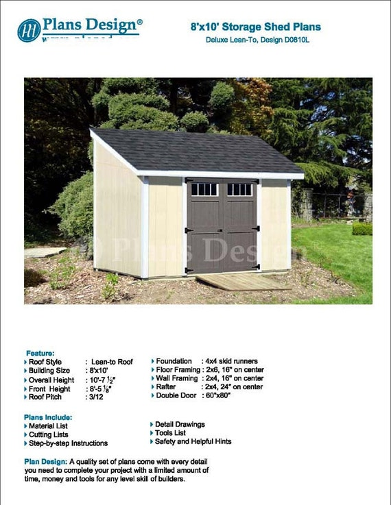 8u0027 X 10u0027 Garden Storage Lean To Shed Plans / | Etsy