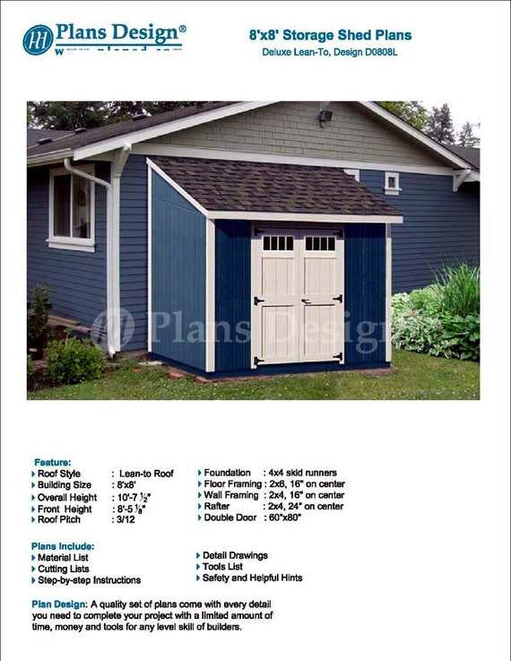 8u0027 X 8u0027 Garden Storage Lean To Shed Plans / | Etsy