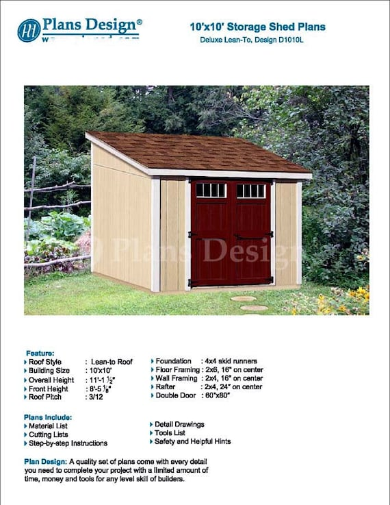 10u0027 X 10u0027 Garden Storage Lean To Shed Plans / | Etsy