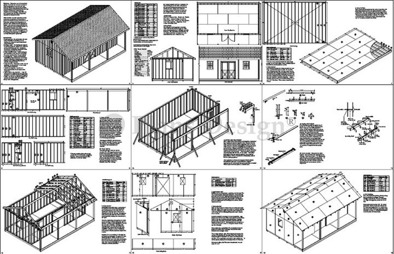 16' X 24' Shed with Porch, Guest House, Cottage or Cabin Building Plans,  Material List Included #P51624