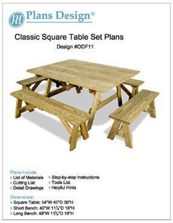 Classic Garden Square Picnic Table With Bench Furniture Plans - Square picnic table with benches