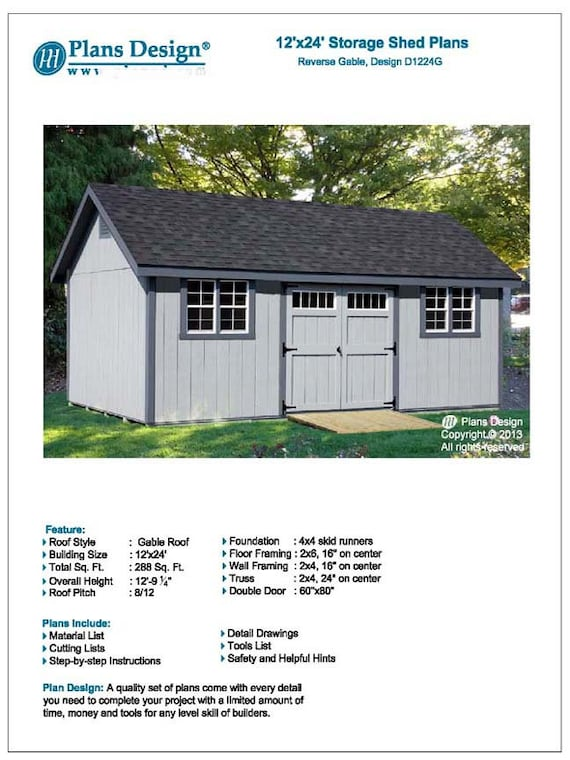 sc 1 st  Etsy & 12u0027 x 24u0027 Storage Gable Shed Plans / Blueprints
