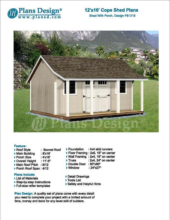 12 X 16 Garden Shed With Porch Pool House Blueprints Material List And Step By Step Instructions Included P81216