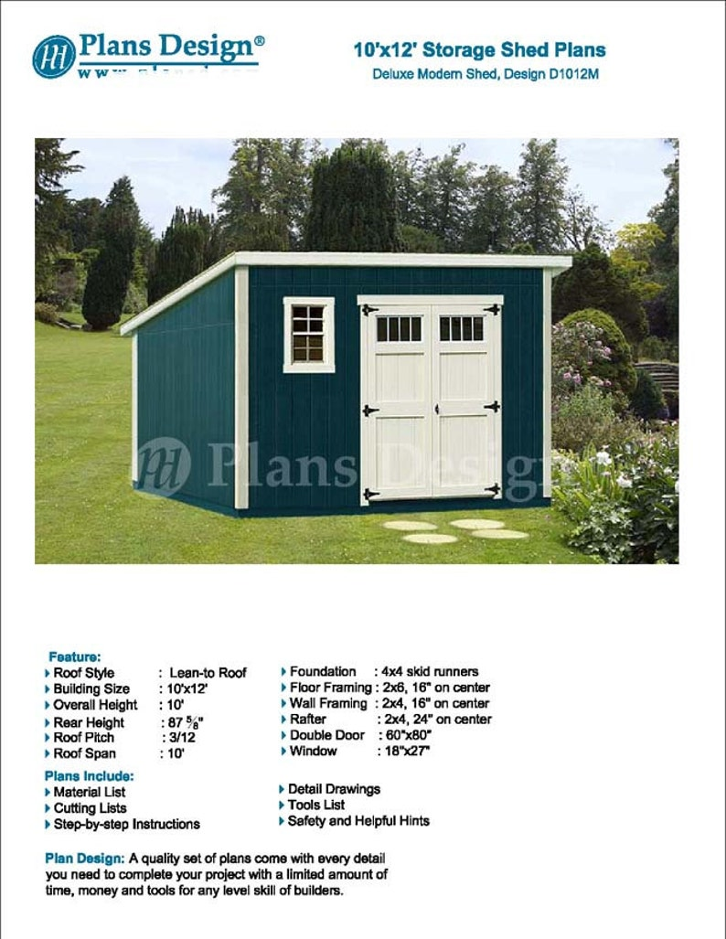 10 x 12 garden storage modern roof style shed plans etsy