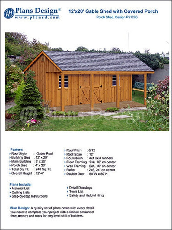 12 X 20 Shed With Porch Guest House Cottage Or Cabin Building Plans Material List Included P51220