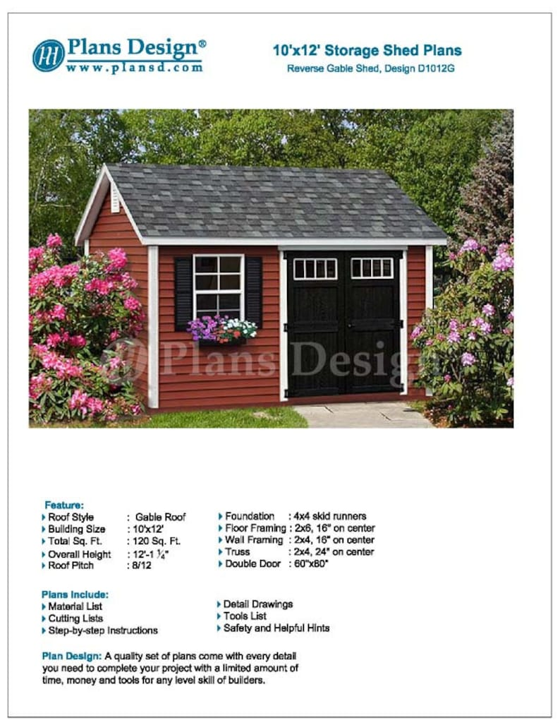 Deluxe shed plans 10 x 12 reverse gable roof style etsy