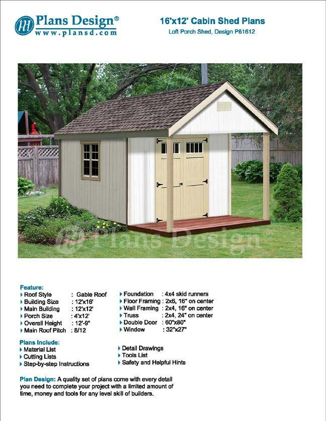 16\' x 12\' Cabin / Guest House Building Covered Porch / Shed Plans ...