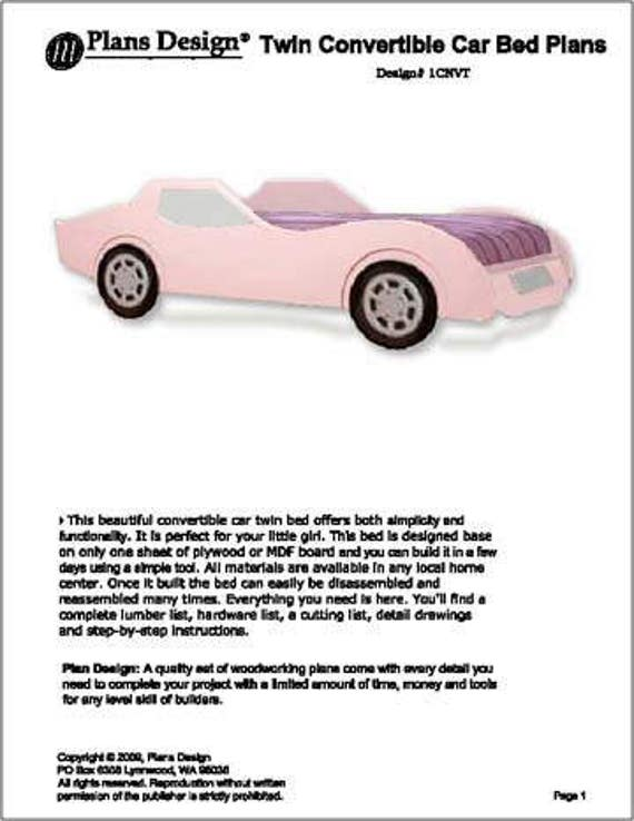 Convertible pink car twin bed woodworking plans instructions etsy image 0 solutioingenieria Gallery