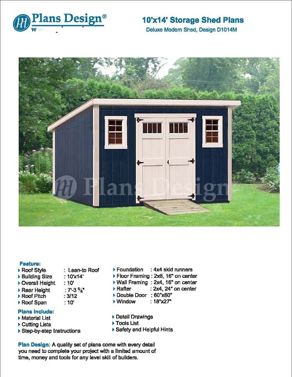10 X 14 Garden Storage Modern Roof Style Shed Plans Blueprints Material List And Step By Step Instructions Included D1014m