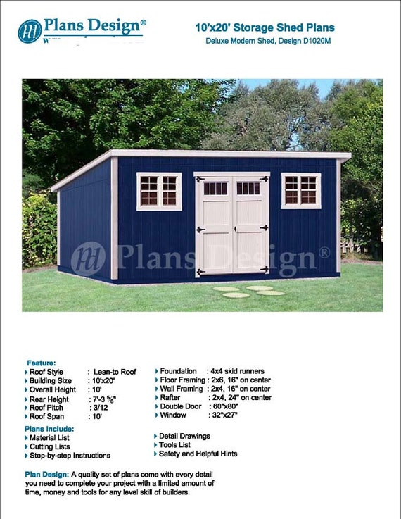 10 X 20 Garden Storage Modern Roof Style Shed Plans Etsy