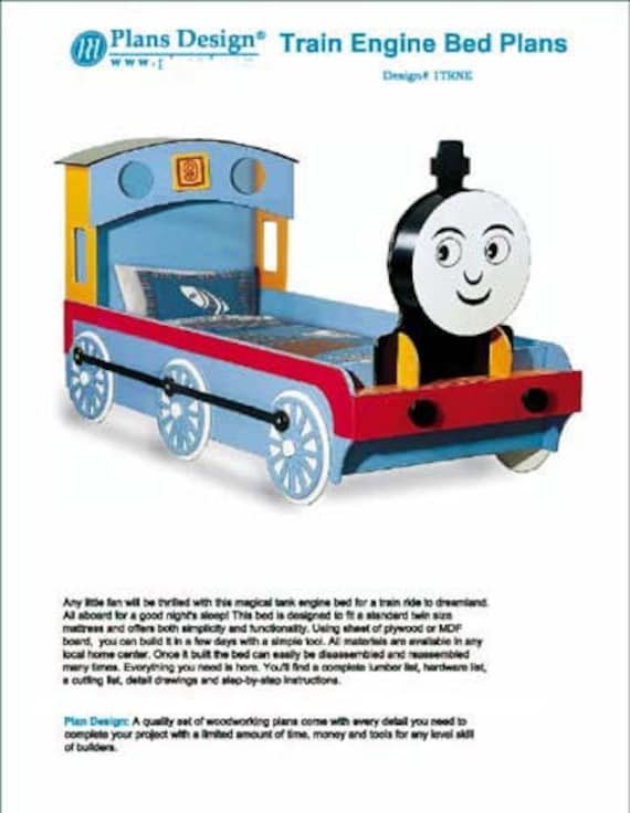 Thomas train engine twin bed woodworking project plans do it thomas train engine twin bed woodworking project plans do it yourself detail drawings and step by step instructions included from plansdesign on etsy solutioingenieria Gallery